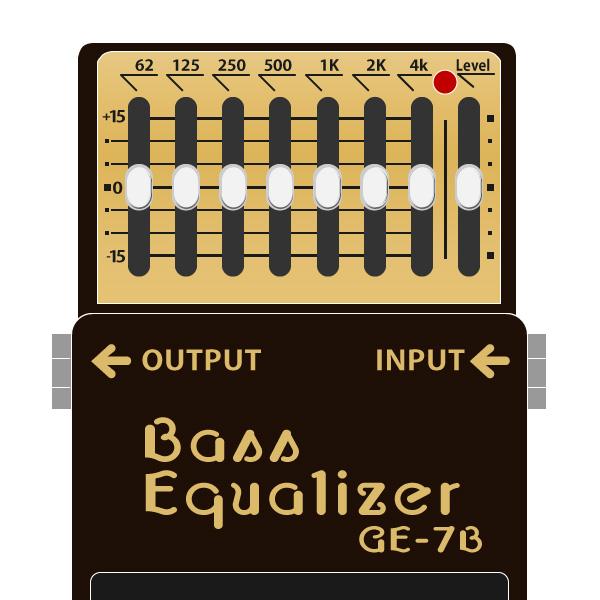 BOSS_GE-7B_Bass_Equalizer-ベースグラフィックイコライザーイラスト