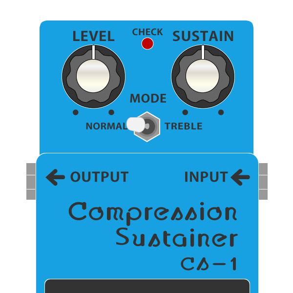 BOSS_CS-1_Compression_Sustainer_コンプレッションサステイナーイラスト