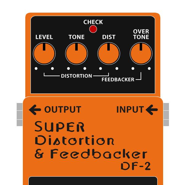 BOSS_DF-2_SUPER_Distortionr_Feedbacker_スーパーディストーション_フィードバッカーイラスト