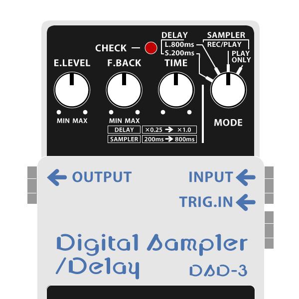 BOSS_DSD-3_Digital_Sampler_Delay_デジタルサンプラー・ディレイイラスト
