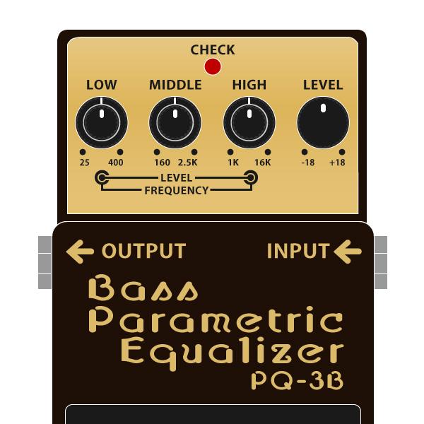 BOSS_PQ-3B_Bass_Parametric_Equalizer_ベースパラメトリックイコライザーイラスト