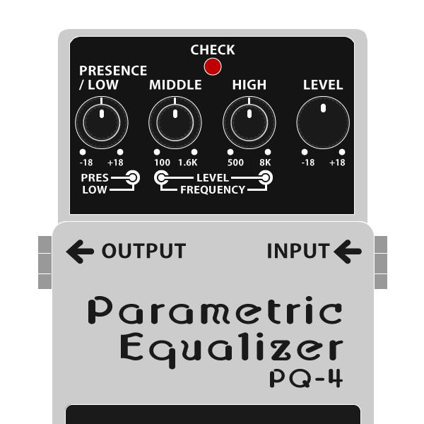 BOSS_PQ-4_Parametric_Equalizer-パラメトリックイコライザーイラスト
