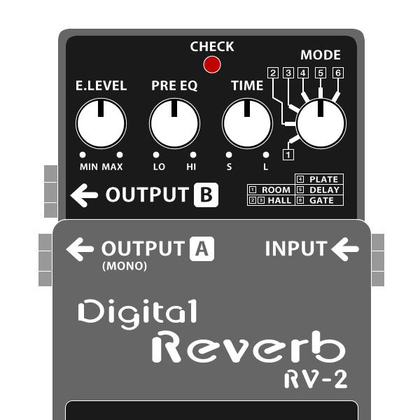 BOSS_RV-2_Digital_Reverb-デジタルリバーブイラスト