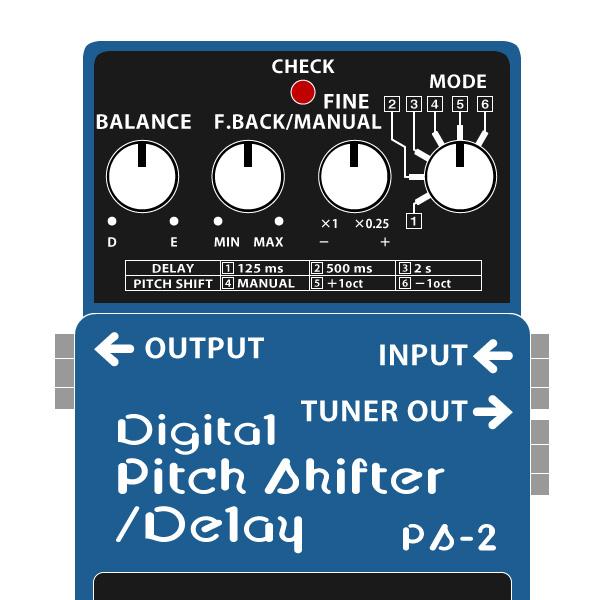 BOSS_PS-2_Digital_Pitch_Shifter_Delay-デジタルピッチシフター・ディレイイラスト