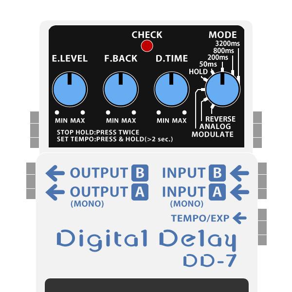 BOSS_DD-7_Digital_Delay_デジタルディレイイラスト